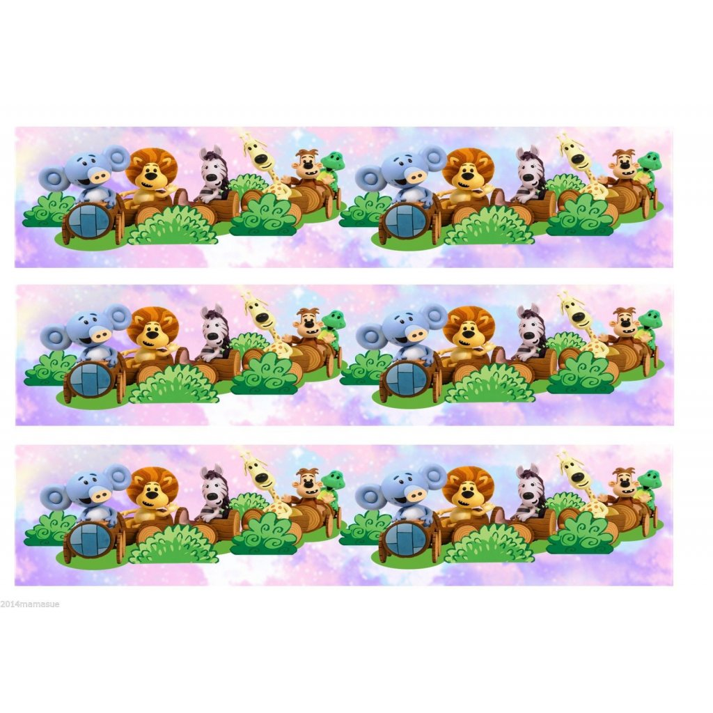 personalised ra ra the noisy lion edible cake ribbon border on icing paper 162337 p