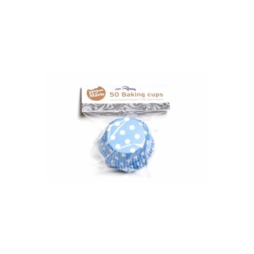 Papírový košíček na muffiny modrý puntíkovaný 50ks
