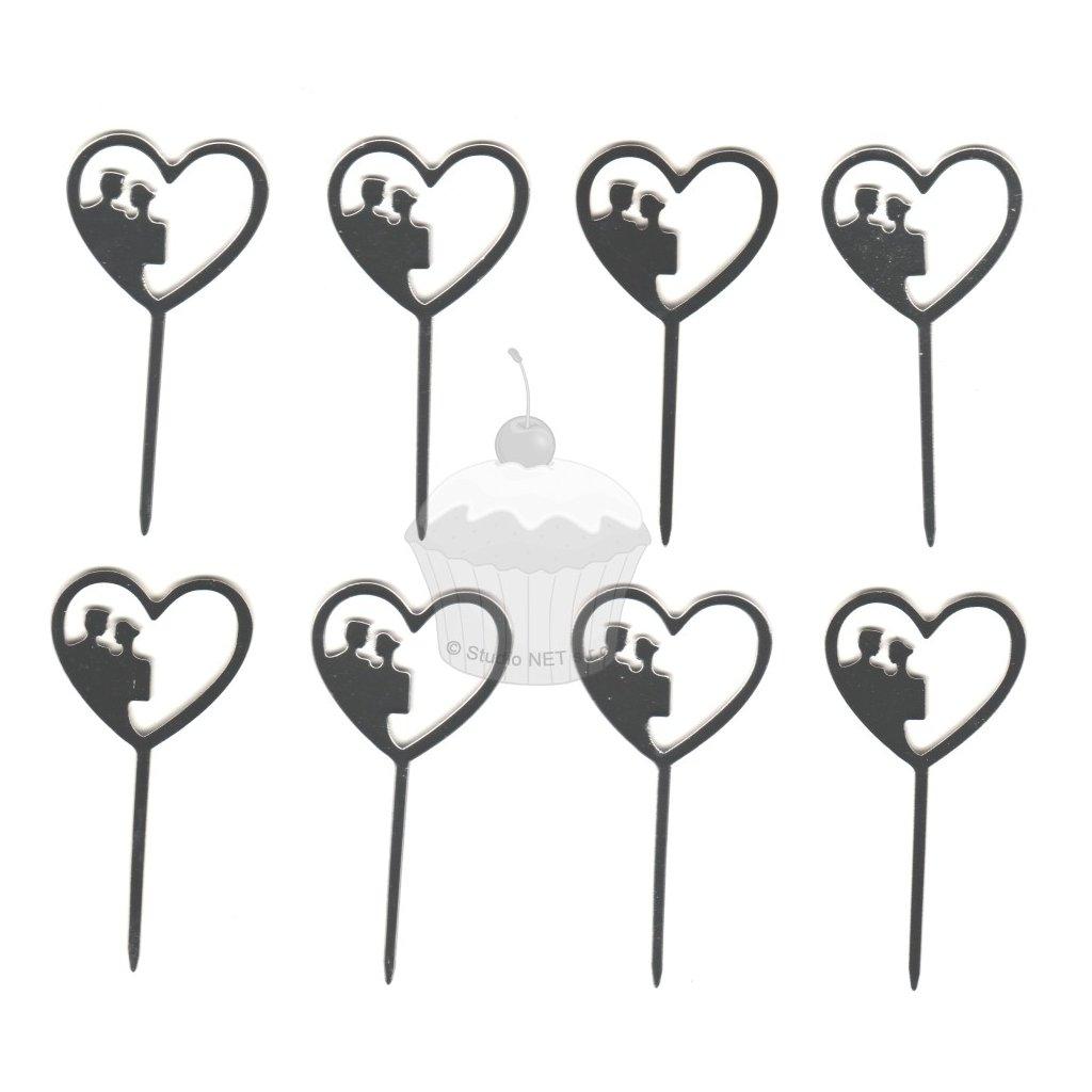Zápich malý - novomanželé v srdci - 8ks
