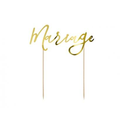 PartyDeco zapichovací dekorace na dort Mariage zlatá