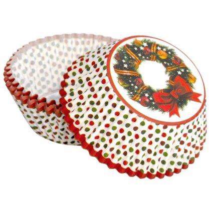 Alvarak košíčky na muffiny Vánoční věnec s červenou mašlí (50 ks)