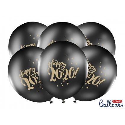 PartyDeco balónky černé Happy 2020! (6 ks)