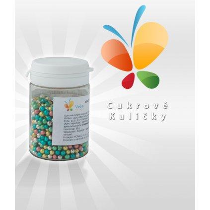 Cukrové kuličky, prům. 3-4mm (duhové metalické) 50 g/dóza