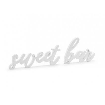 PartyDeco dřevěný nápis bílý Sweet bar