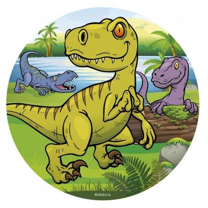 125072 jedly papir na dort 16cm dinosaurus dekora