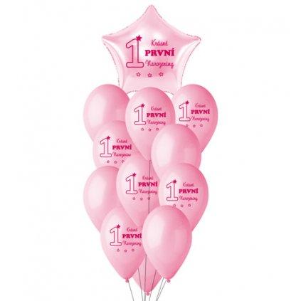 Balonkový buket První narozeniny CZ - 12 ks - růžový
