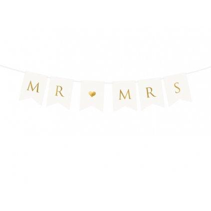 Nápis svatební Mr and Mrs 85 cm - zlatý