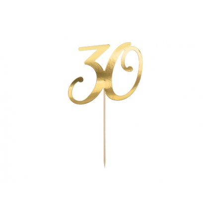 PartyDeco zapichovací dekorace na dort zlatá 30