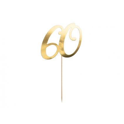 PartyDeco zapichovací dekorace na dort zlatá 60