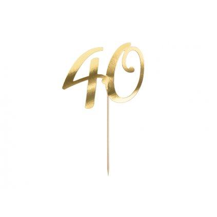PartyDeco zapichovací dekorace na dort zlatá 40