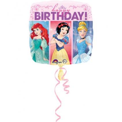 Foliový balonek čtverec Disney princess - Happy Birthday 43 cm