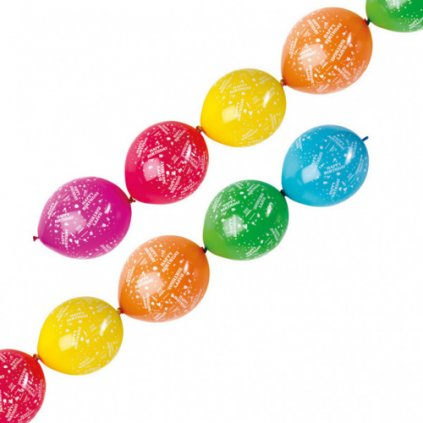 Spojovací balonky Happy Birthday 28 cm - 6 ks