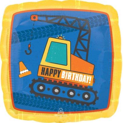 Foliový balonek Bagr - Happy Birthday 43 cm