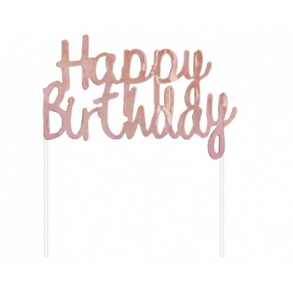 Dekorace na dort Rose gold Happy Birthday 11x14 cm