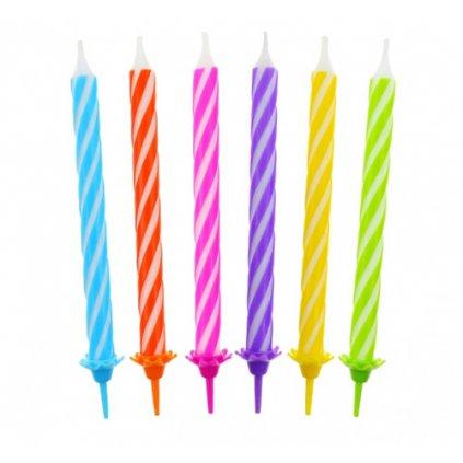 Dortové svíčky s držátky 24 ks - 6 barev