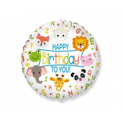 Foliový balonek Happy Birthday Zvířátka 45 cm - Nebalený