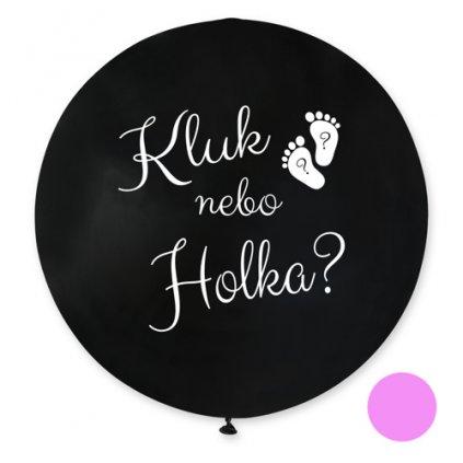 Jumbo balonek Kluk nebo holka? CZ - 80 cm - růžová náplň