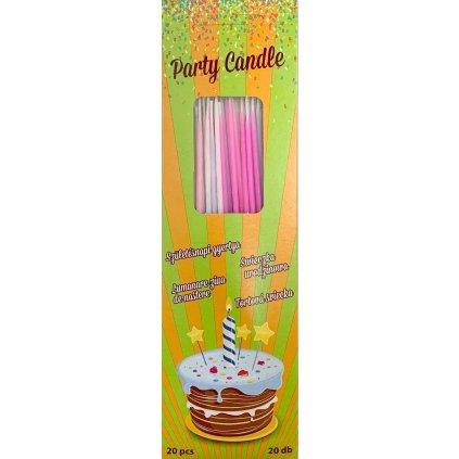 Svíčky tenké dlouhé bílé, růžové a modré (20 ks)