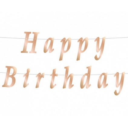 Papírový nápis rose gold Happy Birthday 200 cm