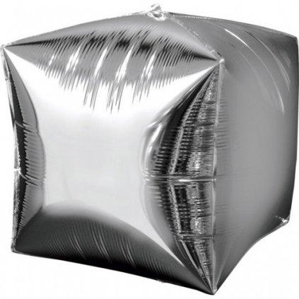 Foliový balonek kostka stříbrná 38 x 38 cm