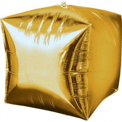 Foliový balonek kostka zlatá 38 x 38 cm