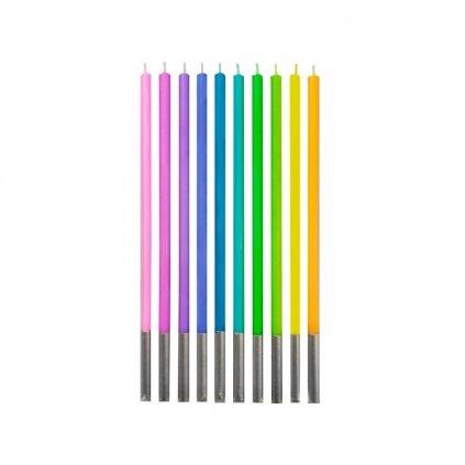 Narozeninové svíčky barevné dlouhé - 10ks