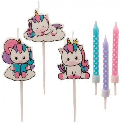Svíčky růžové, modré a fialové a jednorožci (15 ks)