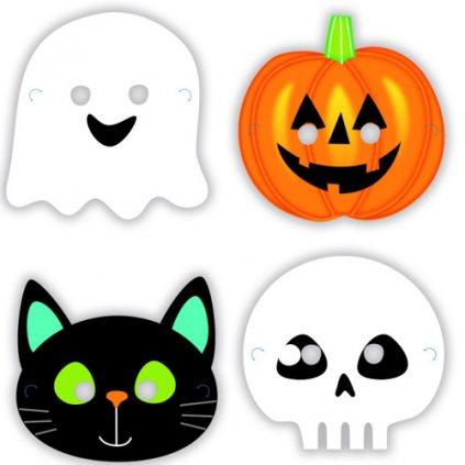 Papírové halloweenské masky 8 ks