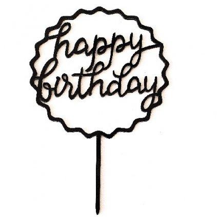 Zapichovací plastová dekorace vroubkovaná Happy Birthday černá