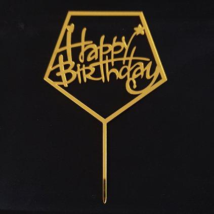 Zapichovací plastová dekorace hranatá Happy Birthday zlatá