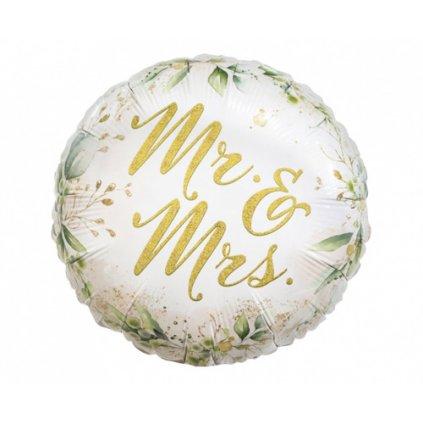 Foliový balonek květiny - Mr a Mrs 45 cm