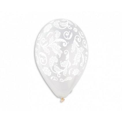 Latexové balonky průhledné s ornamenty 33 cm - 5 ks