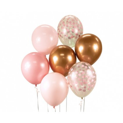 Balonkový buket Chrome Růžovo-měděný - 7 ks