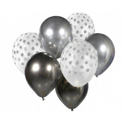 Balonkový buket Chrome Stříbro-Grafitový - 7 ks