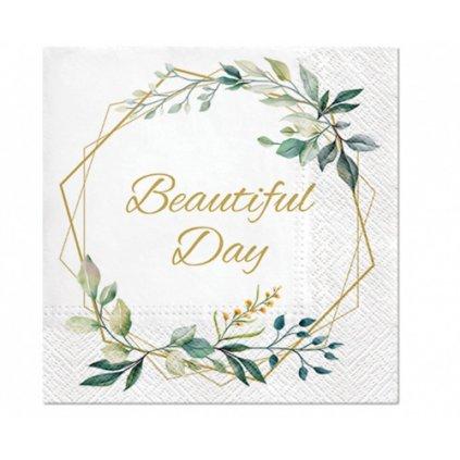Papírové ubrousky Beautiful Day - Lístky a rám - 20 ks