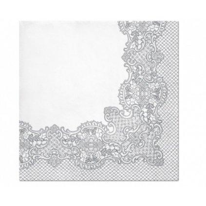 Papírové ubrousky Royal Lace Stříbrné - 20 ks