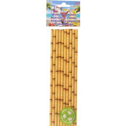 Alvarak Koktejlová brčka papírová s motivem bambusu (10 ks)