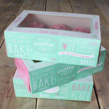 Papírová krabička průhledná na 6 cupcakes 24x16cm zelená v sadě 3 krabičky - FunCakes