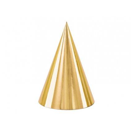 Papírové čepičky zlaté - metalické 6 ks