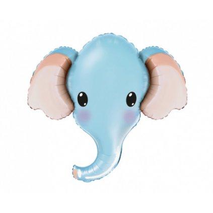 Foliový balonek hlava - Sloník - modrý 61 cm