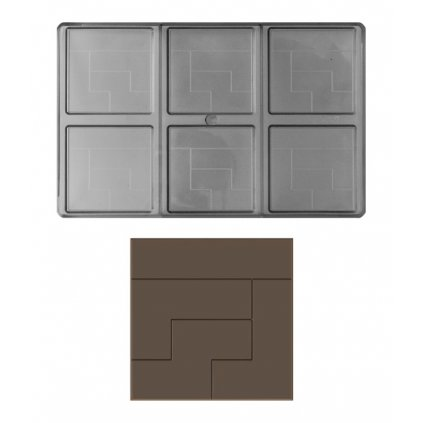 14879 forma na cokoladovou tabulku 35g ctverec 2x3 tabulky forma