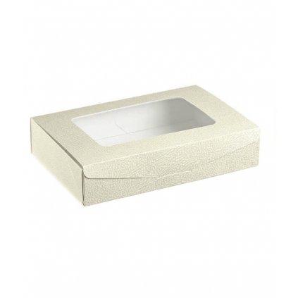 5918 krabice na cukrovi s pruhledem 100x100 v 60mm kuze bila 1 ks krabicka