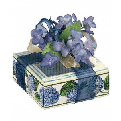 6113 krabicka na pralinky papir obal plast 60x60 v 32mm modra hortensie 10 ks bal
