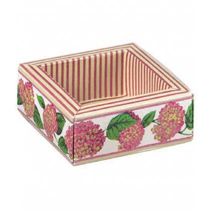 6116 krabicka na pralinky papir obal plast 60x60 v 32mm ruzova hortensie 10 ks bal