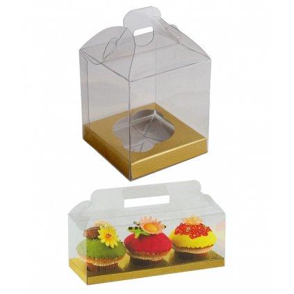 6206 krabicka plast na 1ks cupcake 90x90mm dno zlato bile 1 ks krabicka