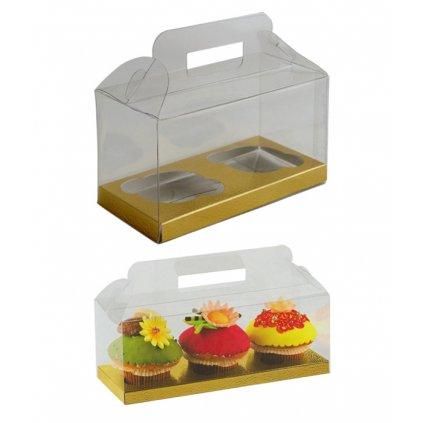 6209 krabicka plast na 2ks cupcake 180x90mm dno zlato bile 1 ks krabicka