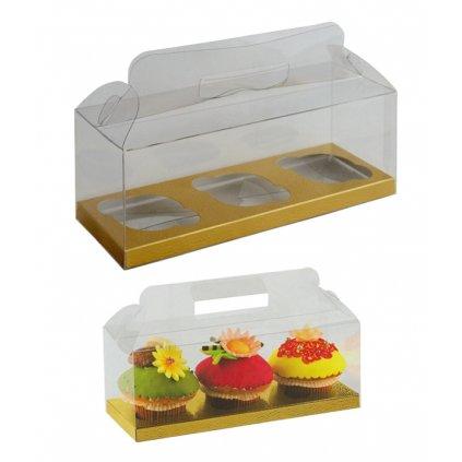 6212 krabicka plast na 3ks cupcake 270x90mm dno zlato bile 1 ks krabicka
