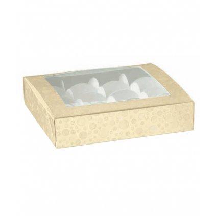 6242 krabicka s pruhledem 160x160 rozdelovac v 30mm kremova s kruhy 1 ks krabicka