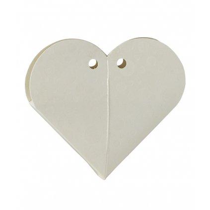 6407 srdce svatebni papir 66x15 mm bila s kruhy 1 ks krabicka