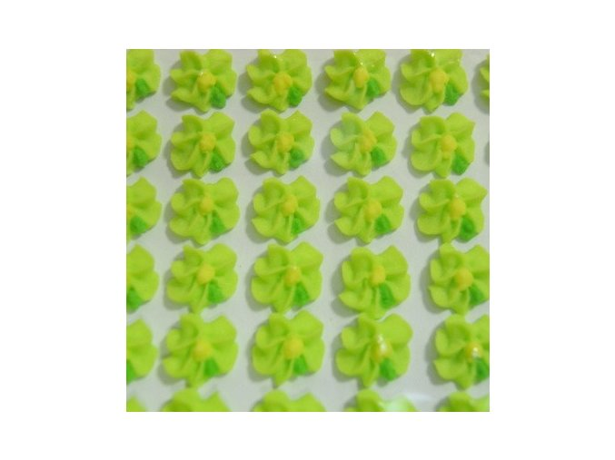 Cukrové ozdoby Timidekor - kytičky zelené (Trvanlivost cca 10 měsíců, Složení cukr, bramborový škrob, voda, vaječný bílek, kyselina citronová E330, glycerol E422, regulátor kyselosti E311c, zvlhčující látka)